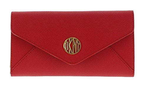 DKNY SLGS Bryant Park Saffiano Leather Wallet Clutch Purse in Crimson