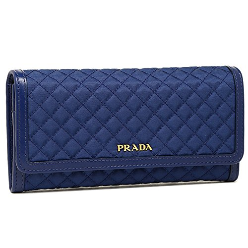 Prada Tessuto Quilted Nylon Continental Flap Wallet 1M1132, Blue