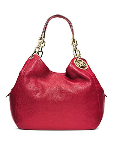 Michael Kors Red Fulton Gold Chain Leather Large Tote Shoulder Bag Purse