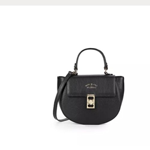 Valentino by Mario Valentino Claire Pebbled Leather Crossbody Satchel, Black