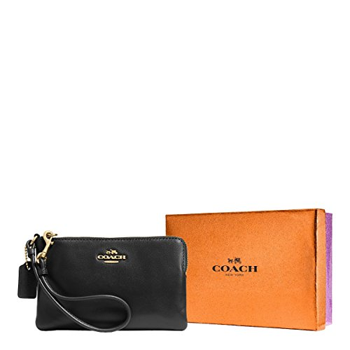 COACH Women's Box Program Smooth Corner Zip LI/Black Clutch