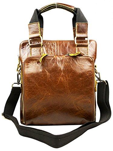 Heshe® Fashion New Men Waxy Cow Leather Briefcase Portfolio Case Cross Body Shoulder Chest Bag Multi Pockets Waist Pockets