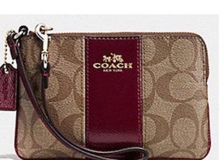 Signature Coach Khaki Sherry Wine Wristlet Purse Bag PVC Leather Corner Zip Year End 2015 Clearance Sale