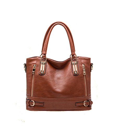 Cczimo Women's Large Capacity Leather Zipper Shoulder Satchel Handbags Tote Bags