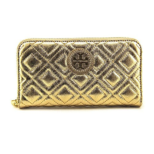 Tory Burch Marion Quilted Metallic Zip Continental Women Wallet