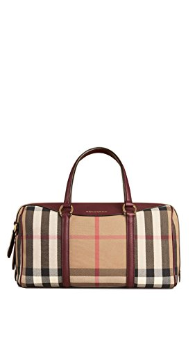 Burberry The Medium Alchester House Check Leather Satchel – Mahogany