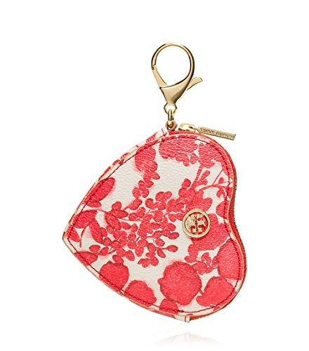 Tory Burch Kerrington RED Pepper Issy Heart Zip Coin Case Key Fob