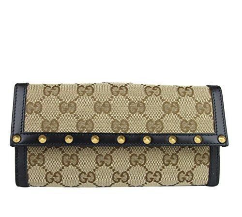 Gucci Women's Original GG Canvas Continental Studded Clutch Wallet 295361 9769
