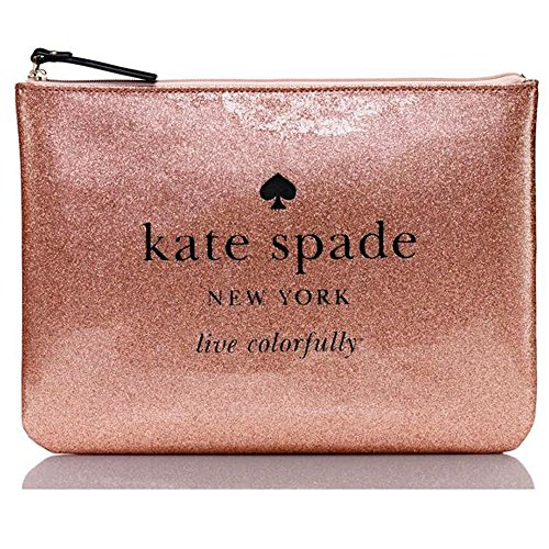 Kate Spade Sparkle Rose Gold NY Holiday Drive Gia Wristlet Evening Bag Coin Purse Party Pouch Nice Gift