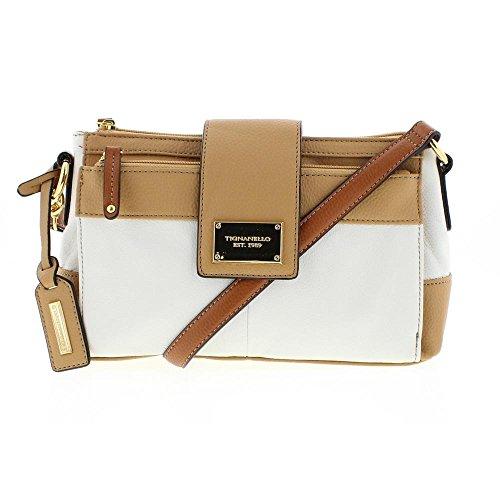 Tignanello Womens Social Status Leather Lined Crossbody Handbag White Small