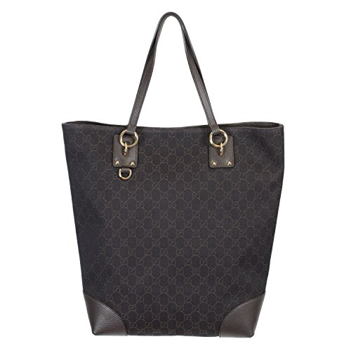 Gucci Women's Brown Canvas Leather Trimmed Guccissima Print Tote Shoulder Bag