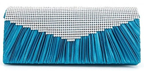 POPLife Women's Teal Evening Bag Rhinestone Satin Pleated Purse Handbag