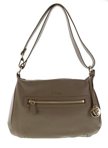 Furla Alida Pebbled Leather Handbag Shoulder Bag Crossbody Purse in Color Daino