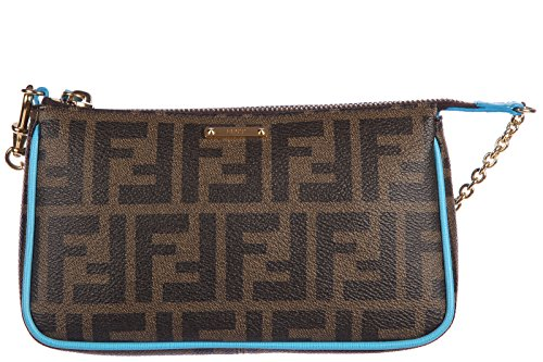 Fendi women's clutch handbag bag purse zucca small puch elite brown