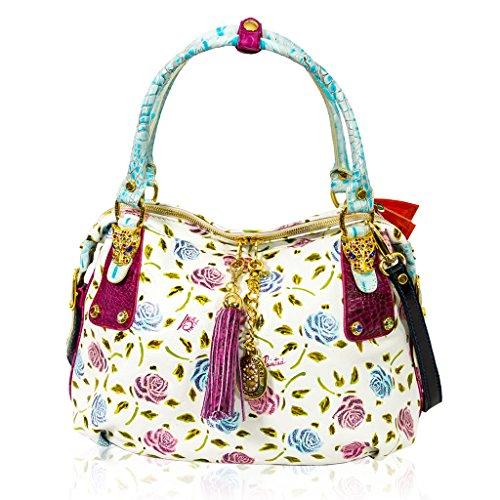 Marino Orlandi Italian Designer Handpainted Pink Roses Satchel Crossbody Bag