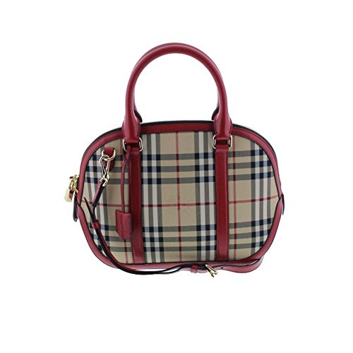 Burberry Womens Orchard Leather Horsefferry Check Bowler Handbag Red Small