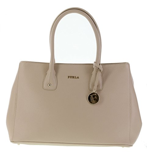 Furla Serena Pebbled Leather Satchel Handbag Purse in Acero (021)