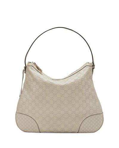 Gucci Bree Guccissima Leather Hobo Bag Mystic White Bone Ivory New
