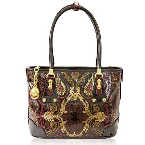 Marino Orlandi Italian Designer Marsala Brown Patent Leather Purse Tote Bag