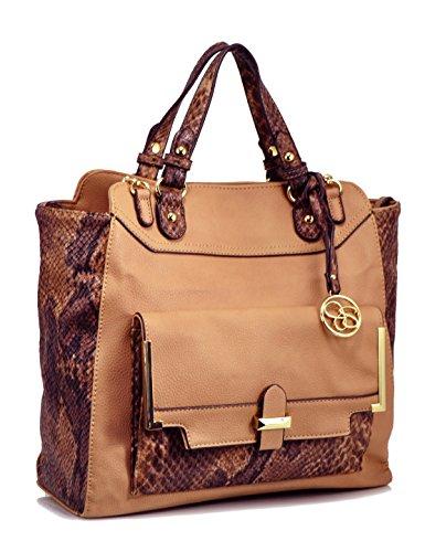 Jessica Simpson Color Block Tote Convertible Bag, Sand/Python