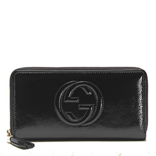 Gucci 'Soho' Patent Leather Zip Around Wallet 308004, Black