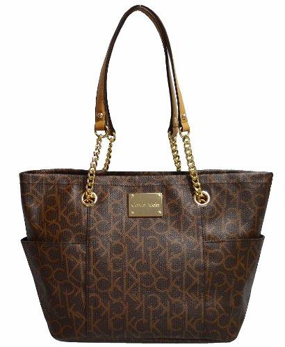 Women's Calvin Klein Monogram Tote Handbag CK Purse Bag