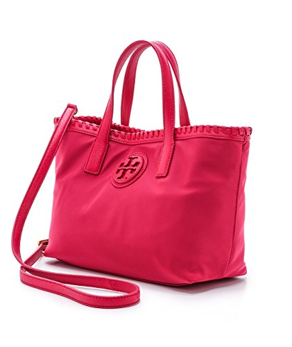 Tory Burch Marion Nylon East West Small Tote Carnation Red Handbag