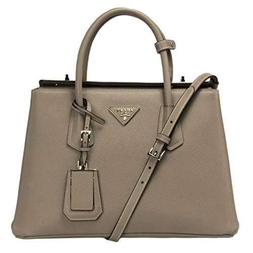 Prada Women's Saffiano Cuir Leather Handbag Tote BN2823 F0572 Argilla (Grey)