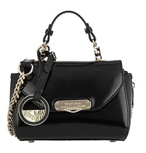 Versace Collection Patent Leather Mini Satchel Crossbody Bag, Black