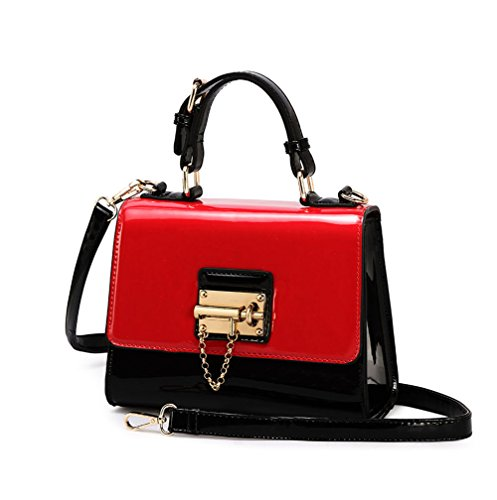 Lam Gallery Women's Faux Shiny Patent Leather Tote Designer Purse Structured Top Handle Handbag