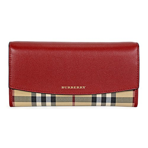 Burberry Womens Beige Tan Red Horseferry Check Leather Continental Porter Wallet