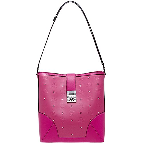 2016 SS MCM Authentic CLAUDIA STUDS Medium Shoulder Bag-Beetroot Pink MWS6SCA02PU