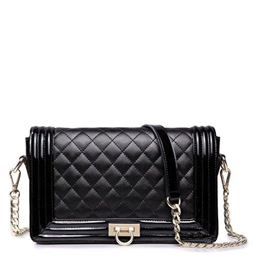 Nucelle Women Black Leather Evening Shoulder Handbag Purse