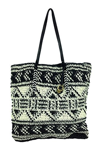 Lucky Brand Patterned Tango Straw Tote, Black Multi