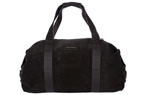Dolce&Gabbana genuine leather travel duffle weekend shoulder bag black