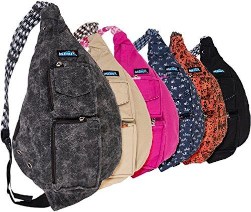 MERU Rope Bag – Crossbody Sling Bag. The Ideal EDC Single Shoulder Strap Multipurpose Daypack Backpack With Ergonomic Teardrop Design For Women and Men.