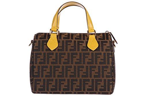 Fendi women's handbag barrel bag purse zucca jacquard elite brown
