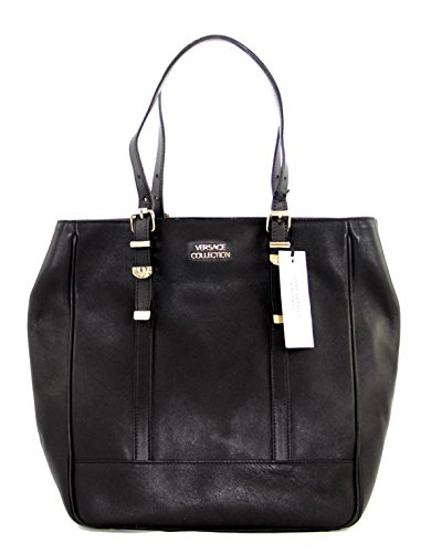 Gianni Versace Lbfs354 Versace Collection Black Leather Large Tote
