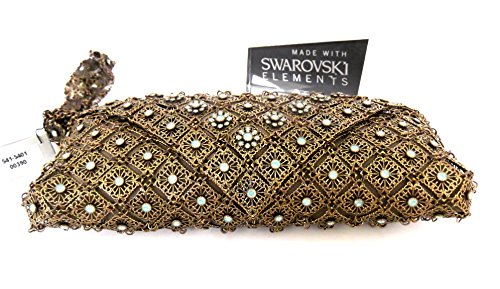 Handcrafted w SWAROVSKI Crystals Elements KENNY MA Evening Bag Antique Gold