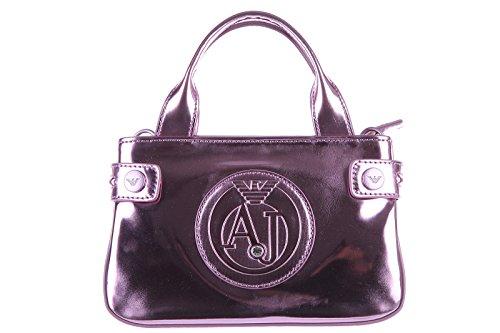 Armani Jeans women's handbag shopping bag purse patent metal pink