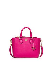 Tory Burch Robinson Pebbled Mini Square Tote Carnation Red Fuschia Pink Leather Bag New