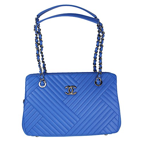 Chanel Women's Blue Quilted Leather Chain Shoulder Bag A93098