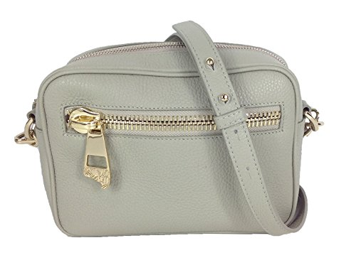 Versace Collection Pebbled Calf Leather Shoulder Bag, Light Grey Moose