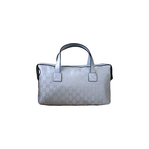 Gucci Silver Gg Canvas Satchel Boston Bowling Bag Handbag 264210