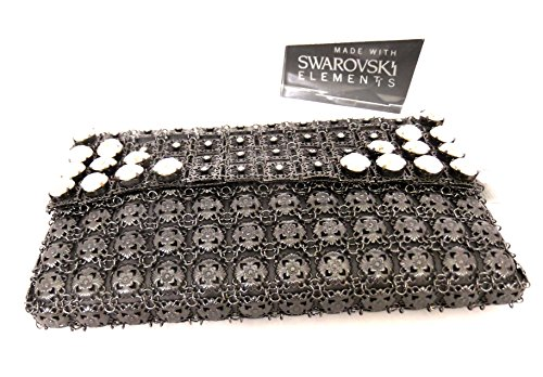 Handcrafted w SWAROVSKI Crystals Elements KENNY MA Evening Bag Gun Metal Grey