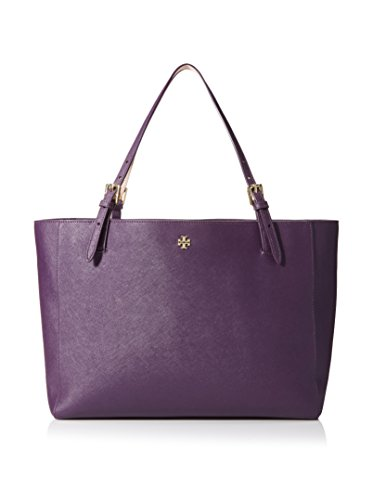 Tory Burch York Buckle Womens Purse Leather Tote Purple Iris
