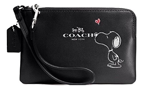 Coach Snoopy Corner Zip Wristlet, Black, F65193