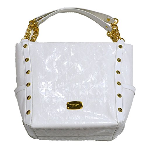 Michael Kors Delancy Handbag LG Shoulder Tote Purse in White