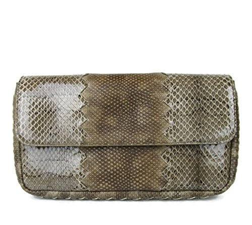 Bottega Veneta Brown Python Clutch Purse 331871 2713