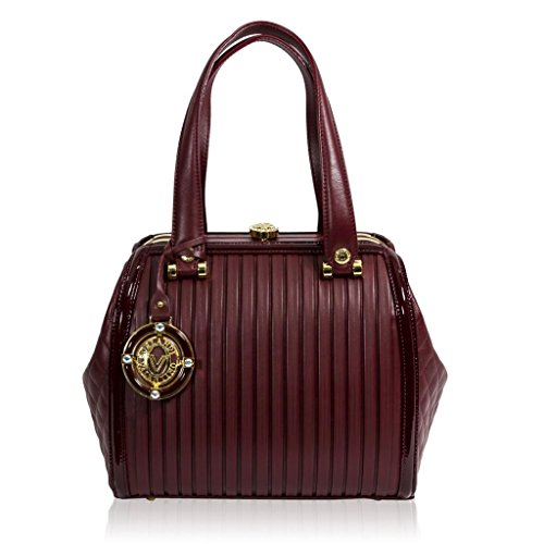 Valentino Orlandi Italian Designer Jeweled Burgundy Plisse Textured Leather Bag